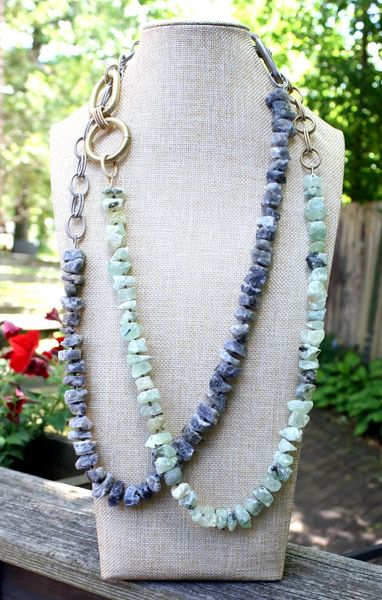 Long Necklace with Raw Gemstones