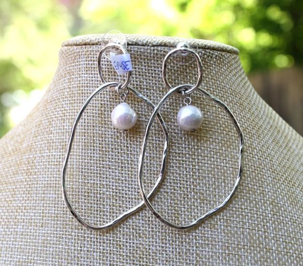 Large Silver Oval Earrings with Pearl Drop