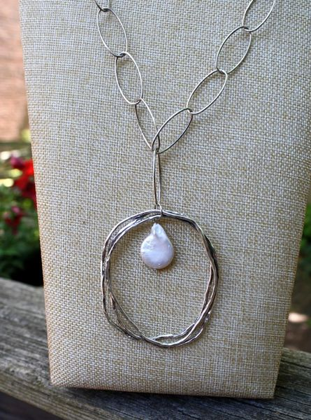 Silver Chain and Pearl Pendant Necklace