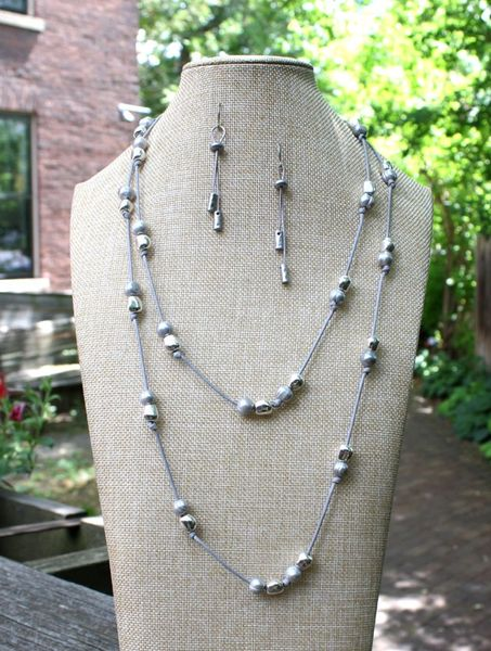 Grey Freshwater Pearls and Silver Beads Infinity Necklace
