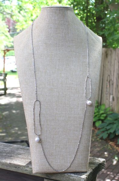 Silver Chain with Hammered Ovals and Pearl Drops