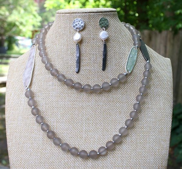 Grey Beads with Gunmetal and Silver Ovals Long Necklace