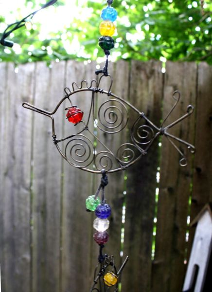 Whimsical Triple Wire Bird Wind Chime