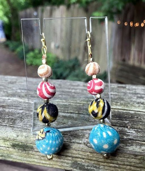 World Finds Graduated Kantha Bead Drop Earrings