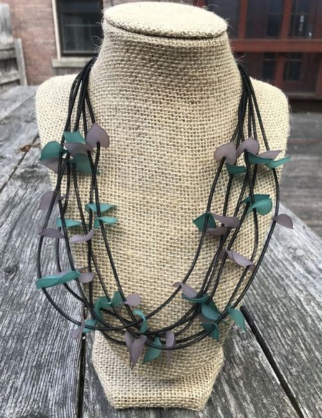 Sea Lily 6-Strand Necklace with Green & Grey Leaves