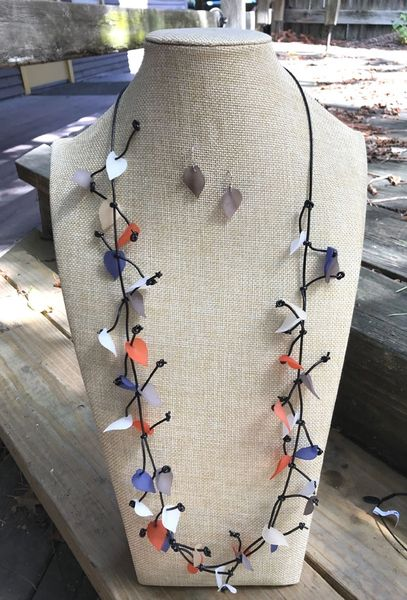 Sea Lily Long Necklace with Resin Leaves