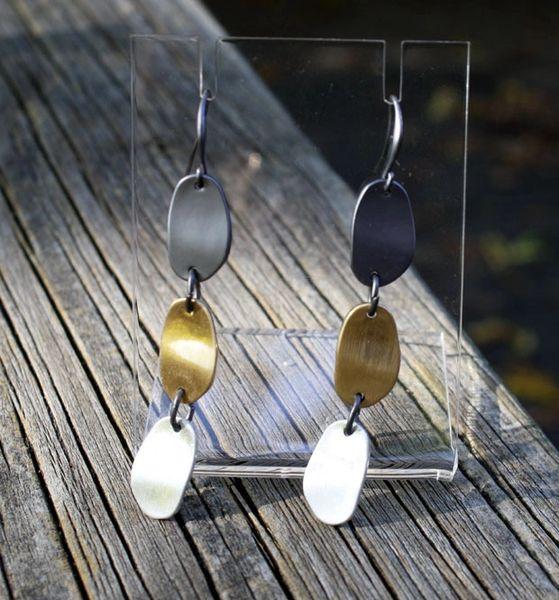Gunmetal, Gold, Silver Drop Earring