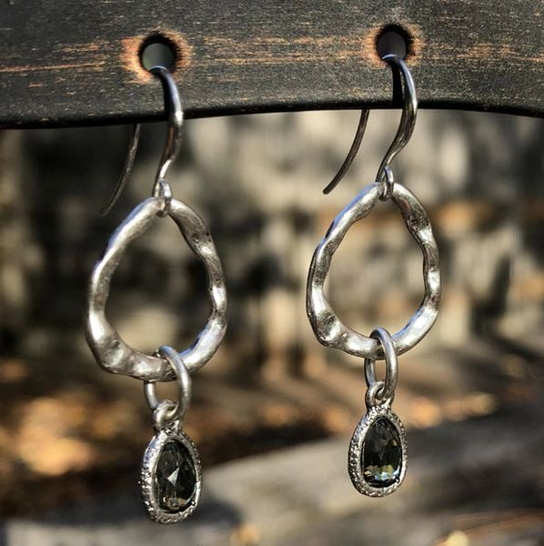 Silver Metal and Black Diamond Tear Drop Earring