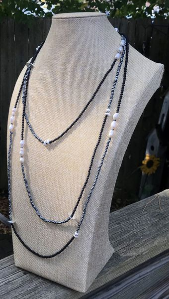 Infinity Black/Grey Beads with White Pearl Necklace