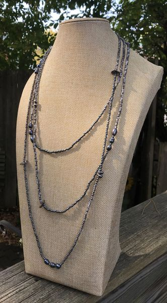 Infinity Gunmetal and Grey Beads with Gunmetal Disc Accents Necklace