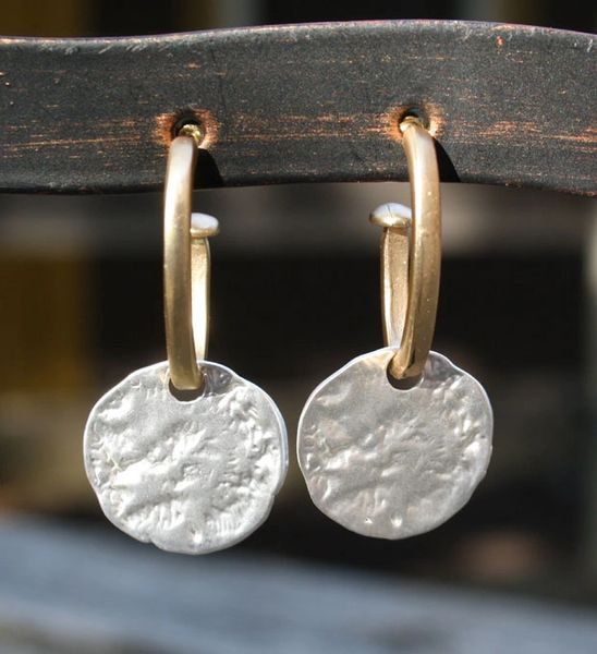Gold Hoop, Silver Coin Earring