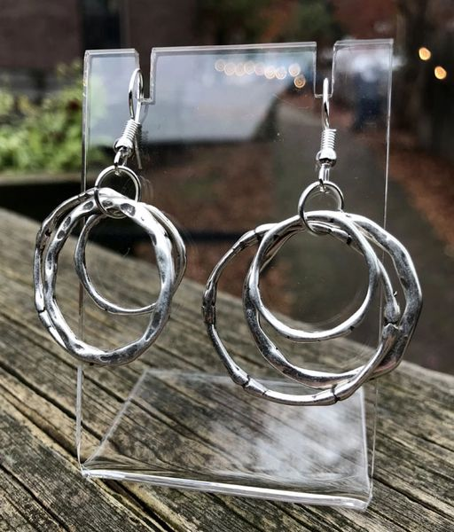 Silver Plated Triple Hoop Earrings