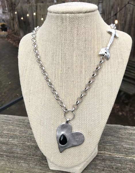 Volare Heart with Black CZ Pewter Necklace