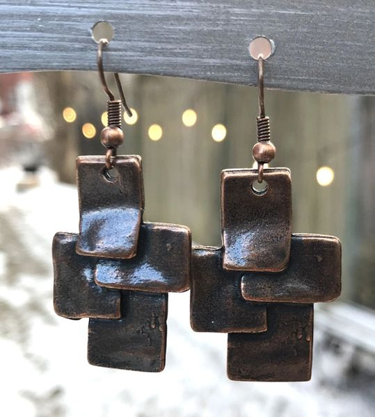 Volare Copper Slab Earring
