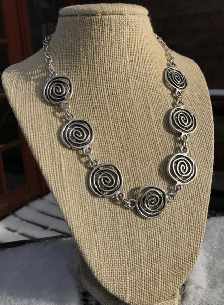 Volare Swirl Pewter Necklace