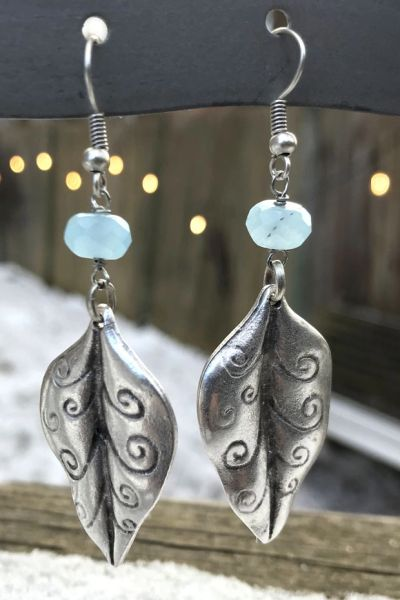 Volare Silver Leaf Earring with Green Chalcedony