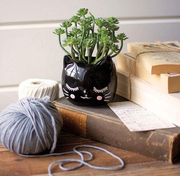 Whimsical Ceramic Cat Planter