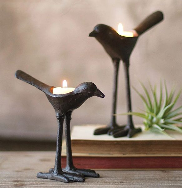 Hand Casted Iron Bird Tea Light Holders (sold separately)