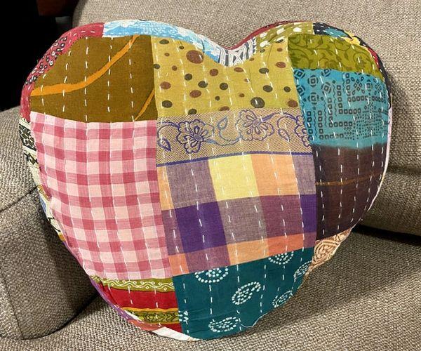 Heart Shape Kantha Pillow
