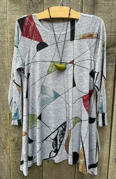 Jess & Jane Abstract Slinky Knit Tunic - Size S - LAST ONE!!