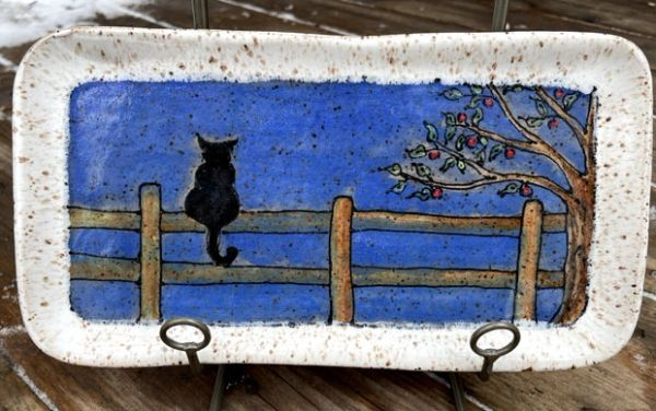 Mountain Gal Cat on a Fence Small Plate