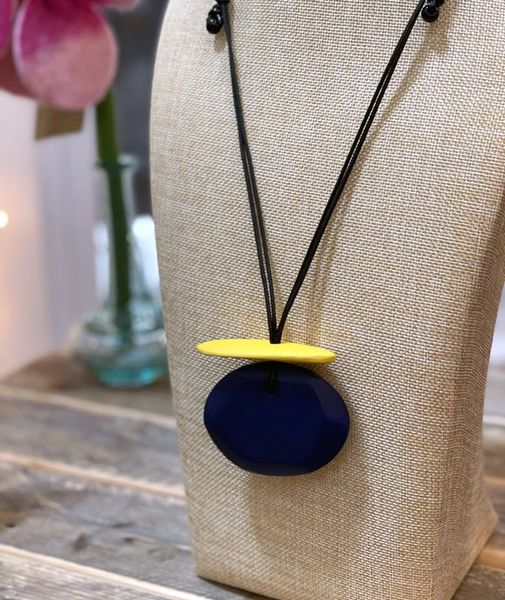 Sylca Blue & Yellow Wooden Pendant Necklace