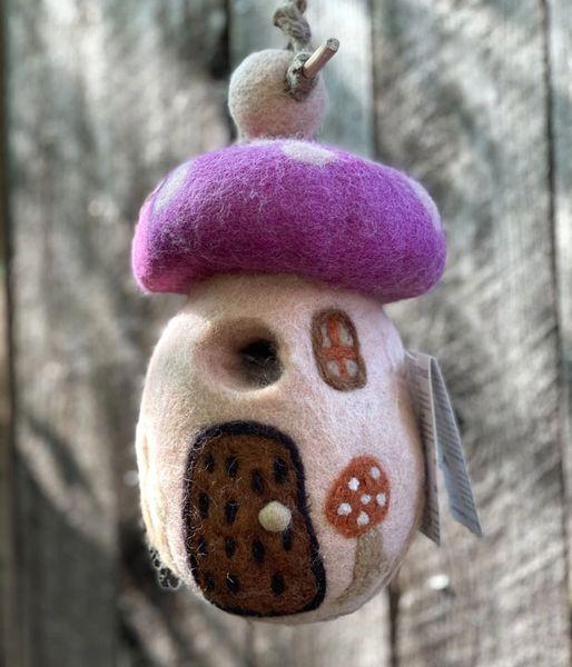 Handfelted Mushroom Birdhouse