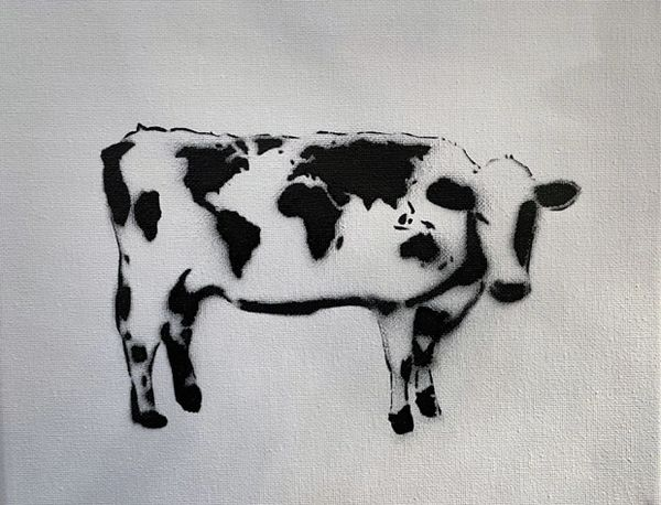 World Cow Iconic B&W Painting on Canvas
