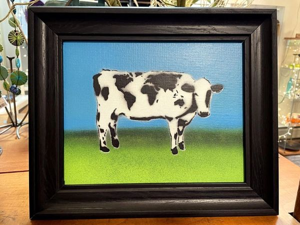 World Cow Framed World Cow Painting