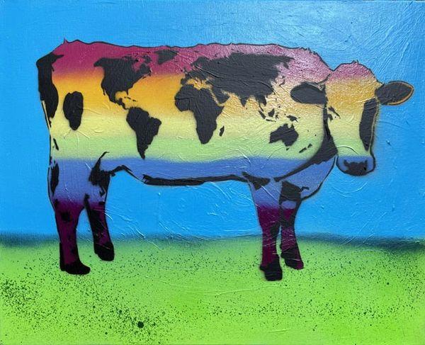 World Cow Rainbow Cow Painting