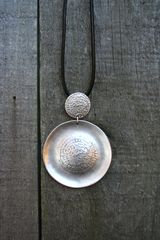 Volare Embossed Disc Pewter Necklace