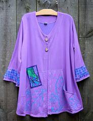 Lilac Dragonfly and Leaves Jacket