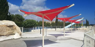 Outdoor shade umbrellas for sun shade in Cyprus.
