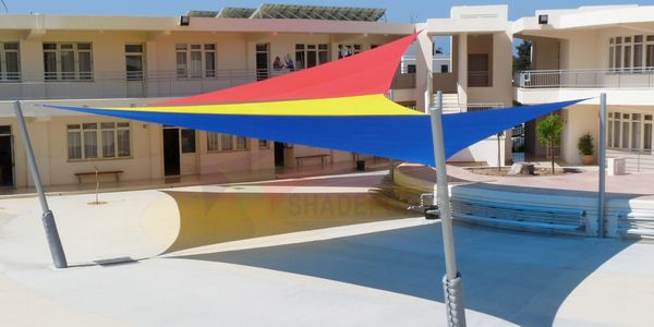 Outdoor Shade Sail providing sun shade by Shadeports Plus Cyprus.