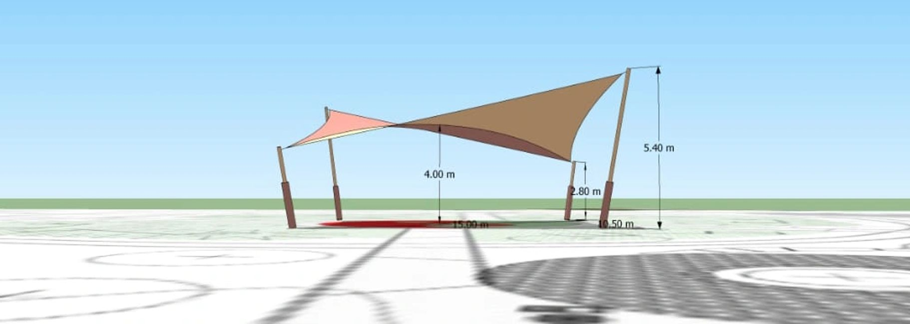 Computer generated design of a large shade sail, by Shadeports Plus Ltd. Cyprus