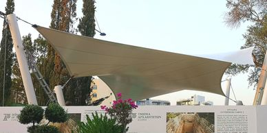 High tension tensile canopy with Serge Ferrari Flexlight Advanced 902 S2 fabric in Limassol, Cyprus.