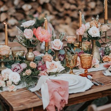 bustld, boho, wedding, flowers, coral