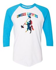 UL - Rainbow Unicorn (Foil) - Unisex Baseball Tee Blue Arms