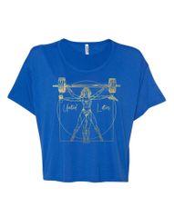 UL - Vitruvian Wonder Lifter - Ladies Flowy Crop Tee (Blue & Gold Foil)