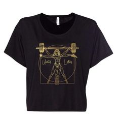 UL - Vitruvian Wonder Lifter - Ladies Flowy Crop Tee (Black & Gold Foil)