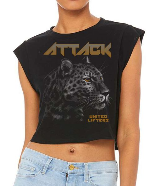 UL - ATTACK Leopard - Ladies FESTIVAL CROPPED TANK