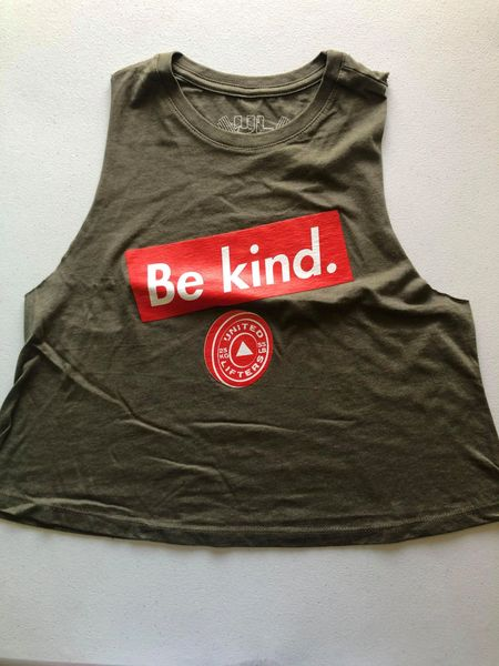 UL - Be Kind - Ladies Crop Tank Olive Green
