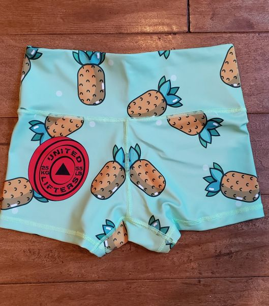 UL Active Shorts - PINEAPPLE - Aqua green HIGH WAIST