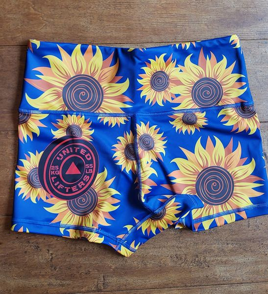 UL - HIGH WAIST -PO- Ladies Active Shorts - Blue Sunflower