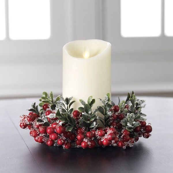 Christmas Candle Rings.Raz Imports 8 Iced Berry Christmas Candle Ring