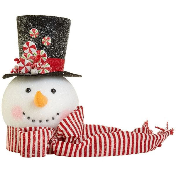 Raz Imports 14 Peppermint Candy Cane Snowman Head Christmas Tree Topper