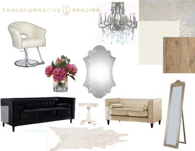 """Rustic elegance"" design board for salon owner. Selection of wall covering, flooring and furnishings"