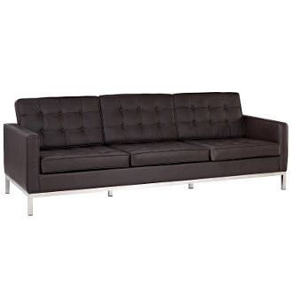 """Florence Knoll Style Leather Sofa-Brown-90"""""""