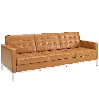 """Florence Knoll Style Leather Sofa-Tan-90"""""""