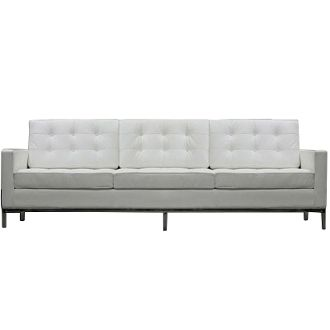 """Florence Knoll Style Leather Sofa-White-90"""""""